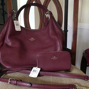 NEW Coach Hobo Bag & Wristlet Wallet (Burgundy)